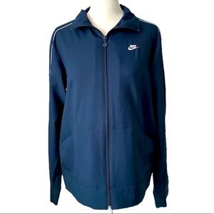 Nike Womens Track Jacket - navy blue and white - m